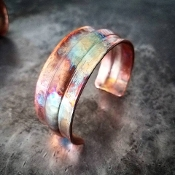 Handmade Large Ribbed Copper Bracelet