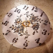 "Steel Wall Clock ""ROSES"""